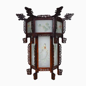 Large Antique Asian Carved Wood Lantern with Dragons & Painted Glass Panels, 1900s