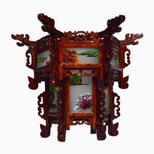Antike asiatische Geschnitzte Holz Laterne mit Drachen und Bemalten Glasplatten