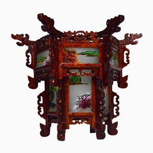 Antique Asian Carved Wood Lantern with Dragons and Painted Glass Panels