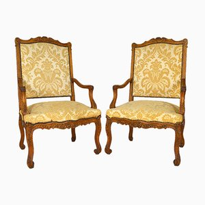 Antique Louis XV Carved Oak Lounge Chairs, Set of 2