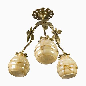 Art Deco Bronze Chestnut and Marbled Glass Three-Light Chandelier