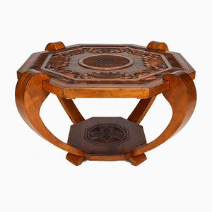 Art Deco Colonial Carved Coffee Table, 1930s