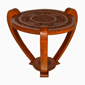Art Deco Colonial Carved Side Table, 1930s