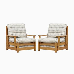 Modernistische Sessel aus massivem Ulmenholz, Frankreich, 1960er, 2er Set