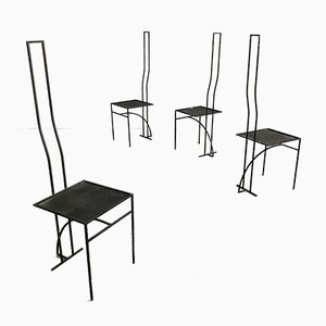 Postmodern Sculptural Black Iron Dining Chairs, 1980s, Set of 4