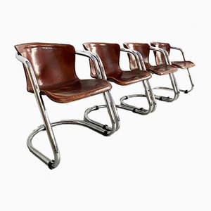 Leather & Chrome Dining Chairs by Willy Rizzo for Cidue, 1970s, Set of 4