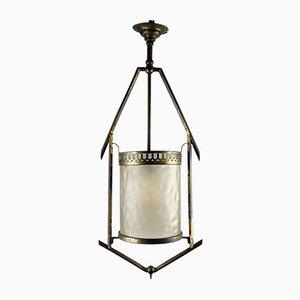 Antike Jugendstil Deckenlampe aus Messing & Glas, Wien, 1900er