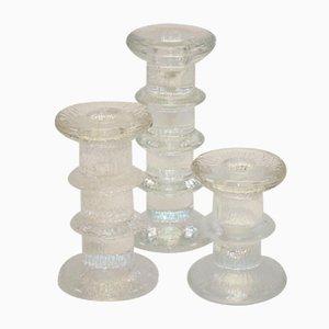 Candelabros suecos de cristal de hielo de Staffan Gellerstadt para Pukeberg, años 60. Juego de 3