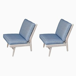 Mid-Century Beach House Modern Ian Mankin Fabric Easy Chairs from Scandart, 1960s, Set of 2