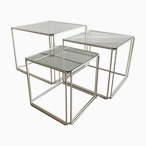 Vintage Minimalist Metal and Glass Nesting Tables in the style of Max Sauze