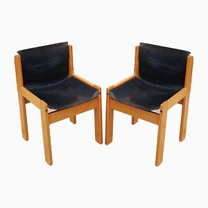 Vintage Italian Black Leather Dining Chairs from Ibisco, 1971, Set of 2