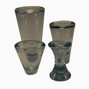 Sculptural Crystal Vases & 1 Candle Holder from Holmegaard, 1950s, Set of 4