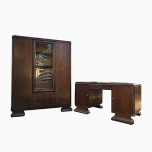 Art Deco Desk and Library Set, 1920s