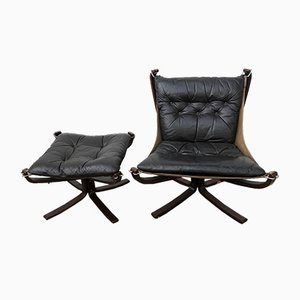Falcon Chair and Stool by Sigurd Ressell for Vatne Lenestolfabrikk, 1970s, Set of 2