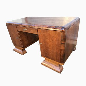 Art Deco Oak and Walnut Desk, 1920s
