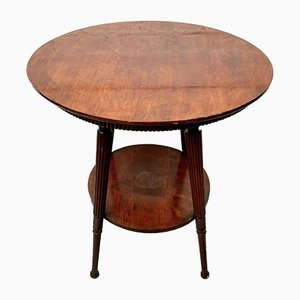 Vintage Round Wooden Side Table with 2 Tiers