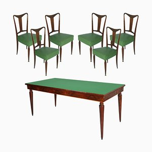 Italian Mahogany Dining Table & Chairs Set from Palazzi dell'Arte, 1940s, Set of 7