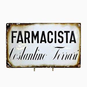 Señal Farmacia o farmacia italiana vintage de metal esmaltado, años 30
