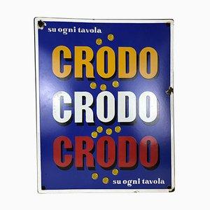 Rechteckiges italienisches Vintage Metall Cromdo Werbeschild aus Emaille, 1960er