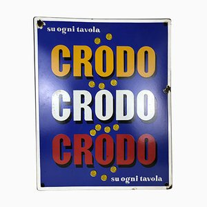 Vintage Italian Rectangular Metal Enamel Crodo Advertising Sign, 1960s