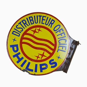 Vintage French Round Double Sided Advertising Philips Enamel Metal Sign, 1950s
