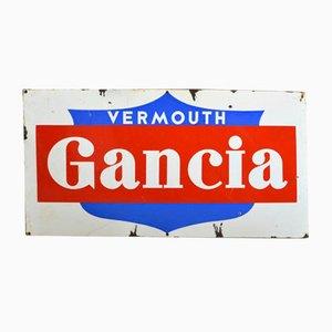 Insegna Gancia Vermouth smaltata in metallo rosso e bianco, Italia, anni '60