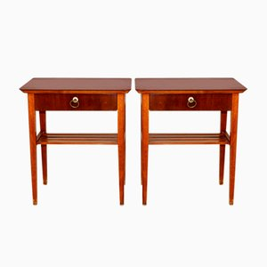 Swedish Mahogany Nightstands, 1950s, Set of 2