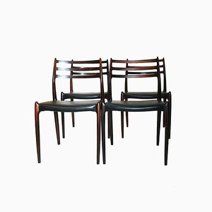 Mid-Century Rosewood Model 78 Dining Chairs by Niels Otto Møller for J.L. Møllers, Set of 4