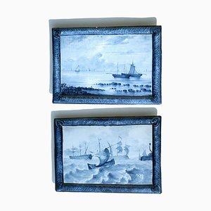 Marine Landscape Ceramic Tiles by Emile Gallé, Set of 2