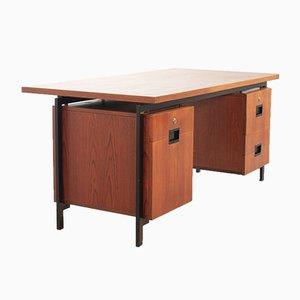 Teak and Black Steel Desk Japanese Series EU02 Desk by Cees Braakman & Adriaan Dekker for Pastoe, 1950s