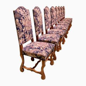 Sheep Bone Beechwood Dining Chairs, 1950s, Set of 8