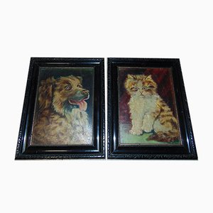 Cat and Dog Oil on Canvas, 1920s, Set of 2