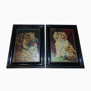 Katze und Hund Öl auf Leinwand, 1920er, 2er Set