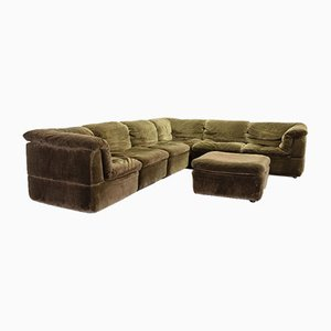 Green Velvet Modular Sectional Sofa Set from Rolf Benz, 1970s, Set of 7