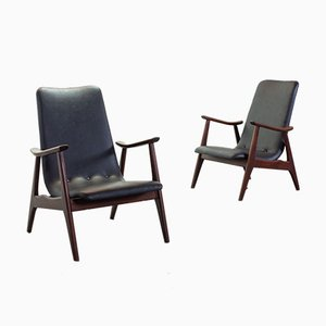 Solid Teakwood and Black Leatherette Armchairs by Louis van Teeffelen for WéBé, 1960s, Set of 2