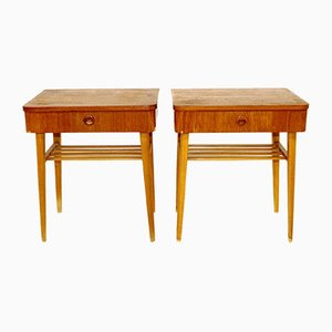 Swedish Teak & Beech Nightstands, 1960s, Set of 2