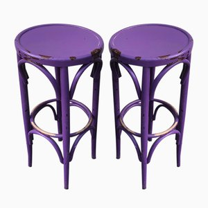 Violet Bistro Stools in the Style of Thonet, 1980s, Set of 2