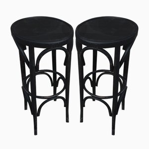Black Bistro Stools in the Style of Thonet, 1980s, Set of 2