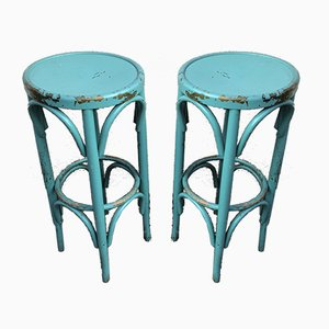 Turquoise Bistro Stools in the Style of Thonet, 1980s, Set of 2