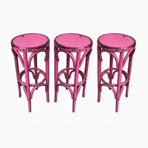 Pink Bistro Stools in the Style of Thonet, 1980s, Set of 3