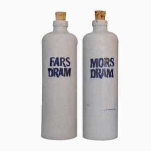 Set di bottiglie Fars Dram e Mors Dram vintage in gres di Dansk Snapseflasker Fabrik, Danimarca, set di 2
