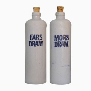 Vintage Danish Fars Dram & Mors Dram Liquor Bottles in Stoneware from Dansk Snapseflasker Fabrik, Set of 2