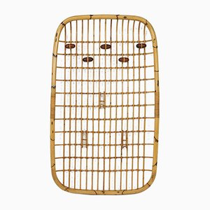 Italian Rattan and Bamboo Wall Hanging Coat Hanger by Olaf von Bohr, 1960s
