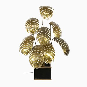 Brass Flower Floor Lamp by Maison Jansen, France, 1970s
