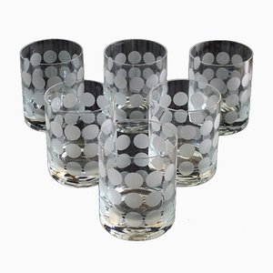 Vintage Glass Drinking Set with Polka Dots from Ingrid Glas - Glashütte Kurt Wokan, 1970s, Set of 6
