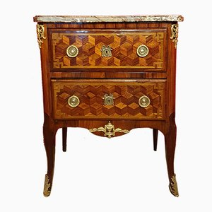 Transition Louis XV, Louis XVI Marquetry & Rosewood Chest of Drawers