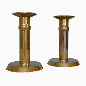Danish Gold-Plated 24kt Candleholders from Altecco, 1970s, Set of 2