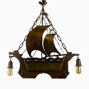 Antike Arts & Crafts Eisen & Messing Viking Schiffslampe von Goberg Hugo Berger