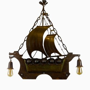 Antique Arts & Crafts Iron and Brass Viking Ship Lamp by Goberg Hugo Berger