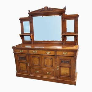 Large Carved Oak Sideboard with Mirror Back, 1910s